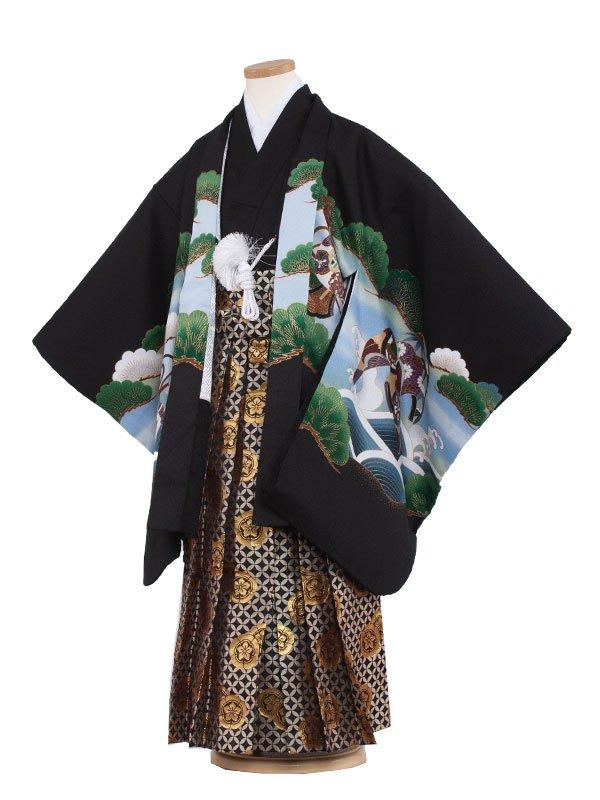 七五三・卒園式袴レンタル(6男)6030 黒色/松と鷹