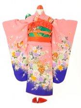 七五三(7歳女児)j708ピンクカラー牡丹裾紫