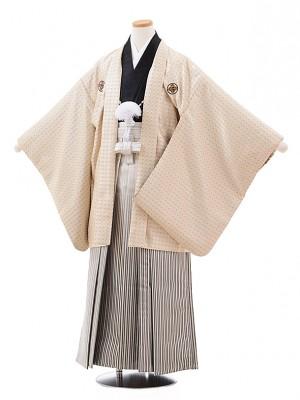 ジュニア袴男児Z022 ベージュ 紋付×シルバーストライプ袴