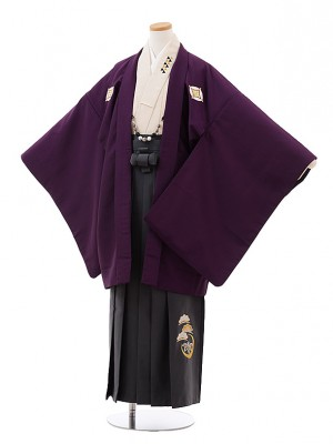 小学校 卒業式 男の子 袴 Z033 パープル しゃれ紋×グレー袴