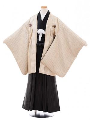 ジュニア袴男児Z066 ベージュドット紋付×黒ストライプ袴