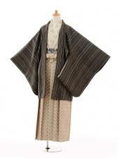 ジュニア袴男児9133紺茶ストライフプ×ベージュ袴