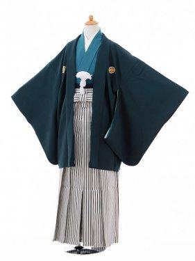 小学生卒業式袴男児9338紺紋付×黒シルバー縞
