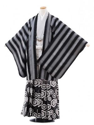 ジュニア袴男児9720 黒グレージグザグストライプ×黒ぼかし袴