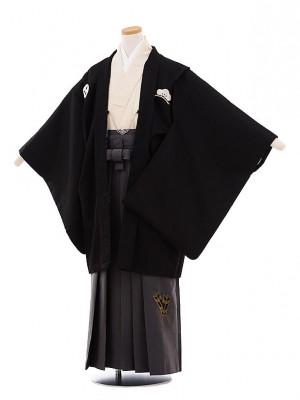 小学校 卒業式 男の子 袴 9434 小町Kids 黒紋付×グレー袴
