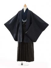 小学生卒業式袴男児9100紺地丸×黒縞袴