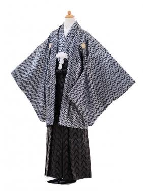小学生卒業式袴男児9370紺シルバー紋付×黒袴