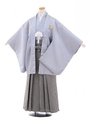 小学校 卒業式 男の子 袴 9471 グレー地紋付×白黒縞袴