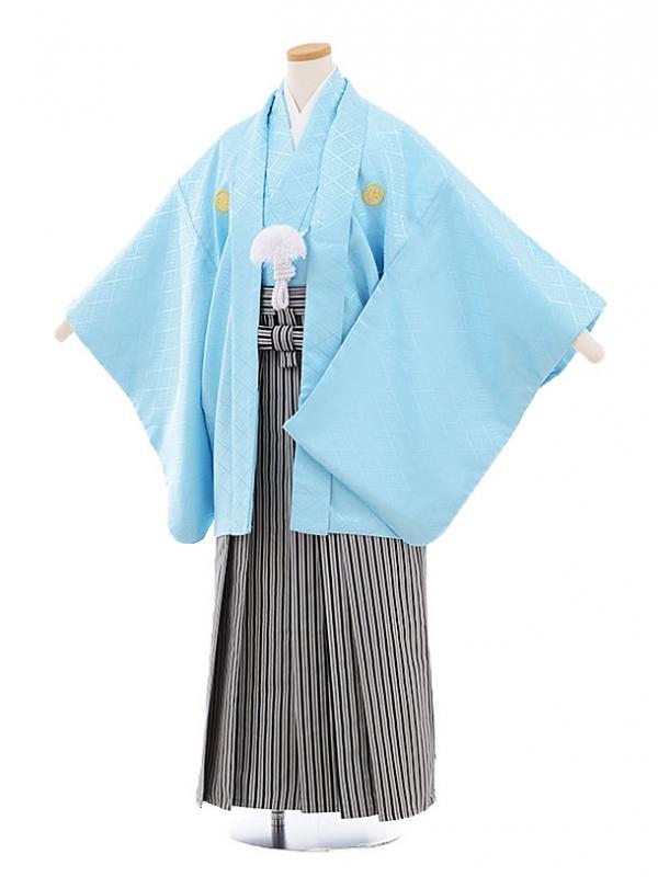 ジュニア袴男児9453 水色菱柄紋付×白黒縞袴