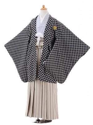 小学校 卒業式 男の子 袴 9411黒格子紋付×ベージュゴールド