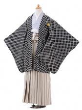ジュニア袴男児9411黒格子紋付×ベージュゴールド