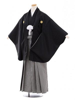 小学校 卒業式 男の子 袴 9461 黒地菱柄紋付×白黒縞袴