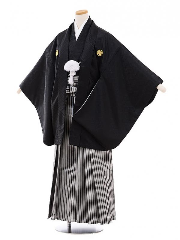 ジュニア袴男児9461 黒地菱柄紋付×白黒縞袴