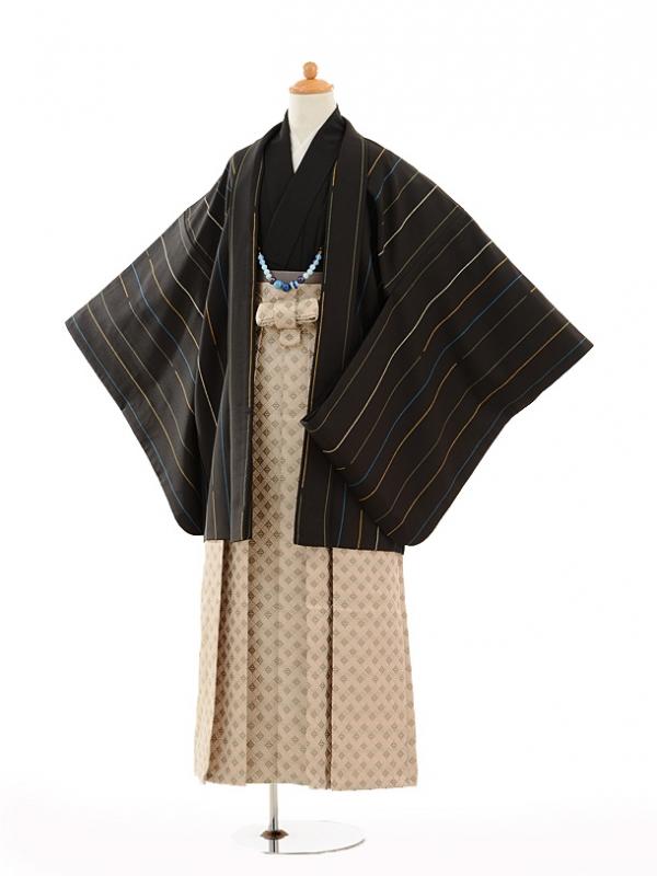 小学生卒業式袴男児9134黒ストライプ×ベージュ袴