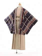 ジュニア袴男児9131紺格子×ベージュ袴