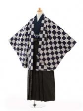 ジュニア袴男児9102濃紺市松×黒縞袴