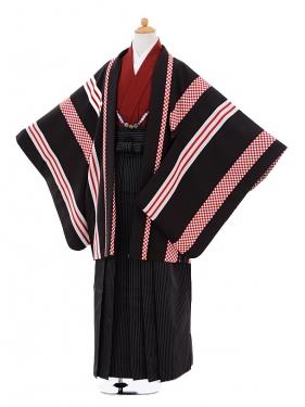 小学生卒業式袴男児9341黒赤ストライプ×黒ストライ