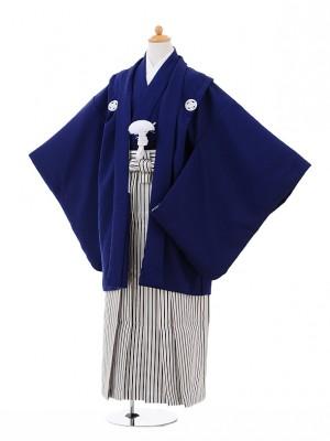 小学生 卒業式 袴 男児 9331紺紋付×黒シルバーストラ