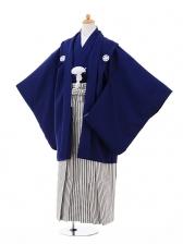 小学生卒業式袴男児9331紺紋付×黒シルバーストラ