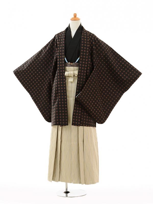 小学生卒業式袴男児9121黒地丸×ベージュ袴