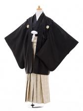 小学生卒業式袴男児9330黒紋付×ベージュゴール