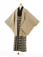 ジュニア袴男児9107ベージュ×黒ゴールド袴