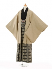 小学生卒業式袴男児9107ベージュ×黒ゴールド袴