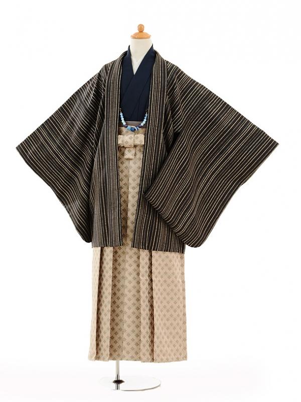 小学生卒業式袴男児9132紺茶ストライプ×ベージュ