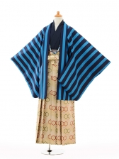 ジュニア袴男児9118青ストライプ×ベージュ亀甲袴