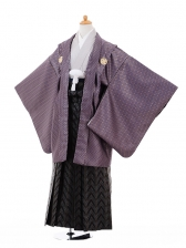 小学生卒業式袴男児9328紫ゴールド紋付×黒袴
