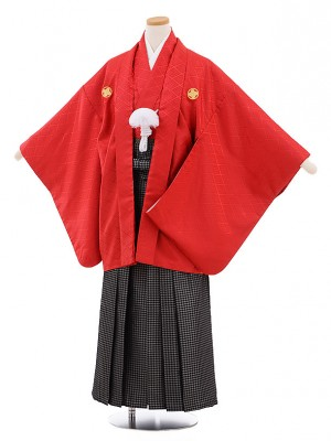 小学校 卒業式 男の子 袴 9469 赤地菱柄紋付×黒シルバー袴