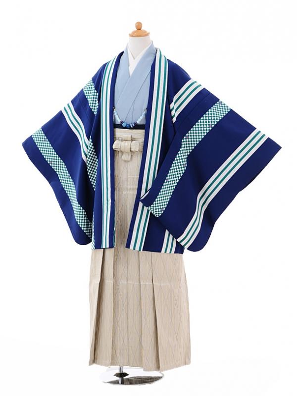 小学生卒業式袴男児9337紺ストライプ×ベージュゴ
