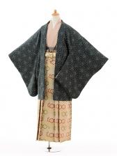 ジュニア袴男児9116緑麻の葉×ベージュ亀甲袴