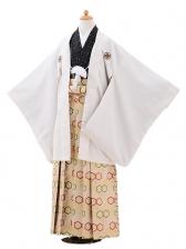 ジュニア袴男児9415白ゴールドドット紋付×ベージュ