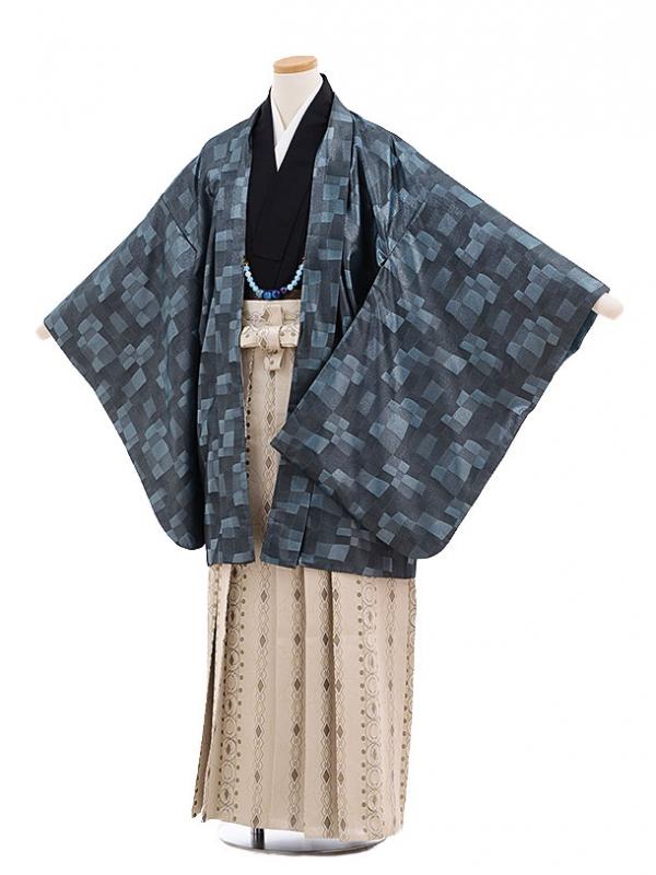 ジュニア袴男児9701 ブルーグレー変わり格子×ベージュ袴