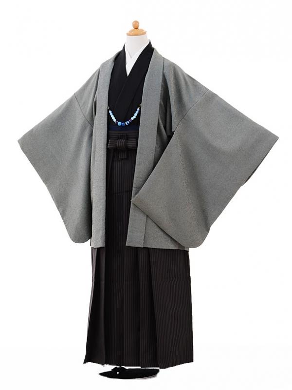 小学生卒業式袴男児9335グレー羽織×ダークグレー
