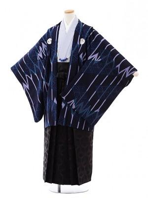 小学校 卒業式 男の子 袴 9714 九重 紺紫しゃれ紋×黒袴