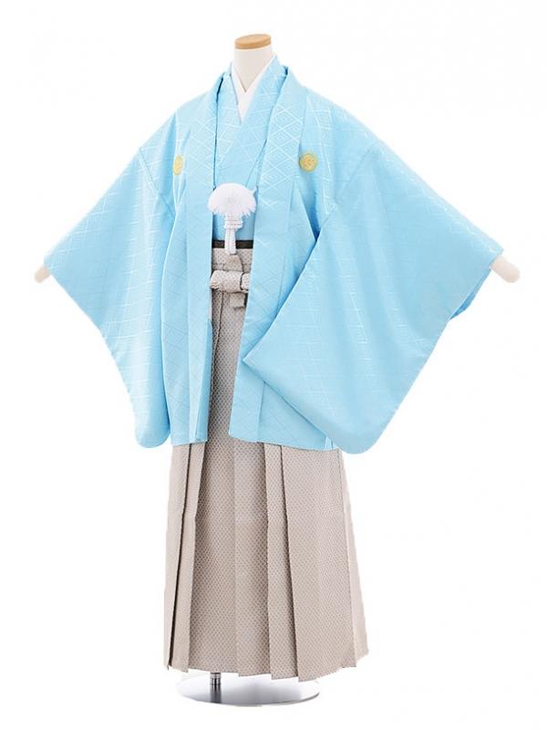 ジュニア袴男児9456 水色菱柄紋付×グレー袴