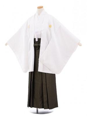 小学校 卒業式 男の子 袴 9449 白地菱柄紋付×黒ゴールド袴