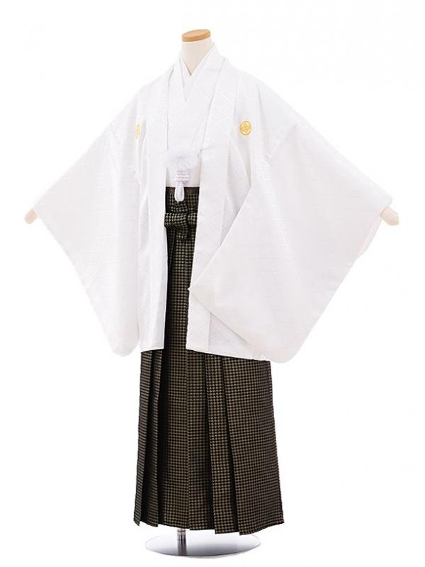 ジュニア袴男児9449 白地菱柄紋付×黒ゴールド袴