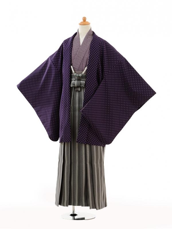 小学生卒業式袴男児9114紫ドット×黒袴