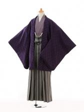 ジュニア袴男児9114紫ドット×黒袴