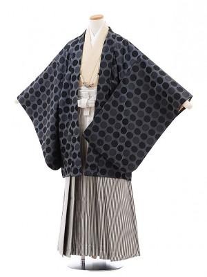 小学校 卒業式 男の子 袴 9719 グレー水玉×シルバー縞袴