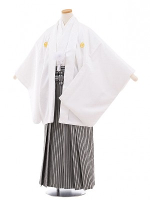 小学校 卒業式 男の子 袴 9445 白地菱柄紋付×白黒縞袴