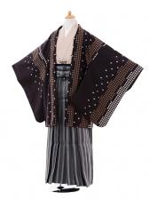 ジュニア袴男児9342濃茶千鳥格子×黒白縞袴