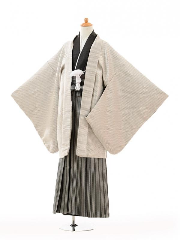 小学生卒業式袴男児9119シルバー紋付×黒シルバー