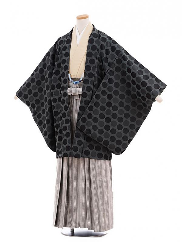 ジュニア袴男児9703 グレードット×グレー縞袴