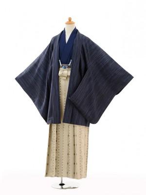 小学生 卒業式 袴 男児 9110紺ぼかし縞×ベージュ