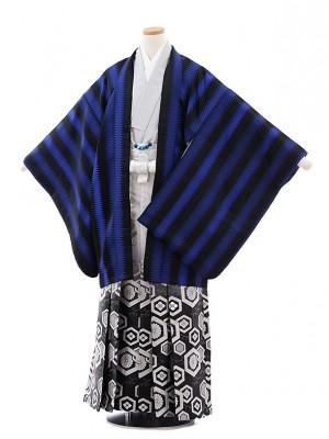 ジュニア袴男児9721 黒ブルージグザグストライプ×黒ぼかし袴