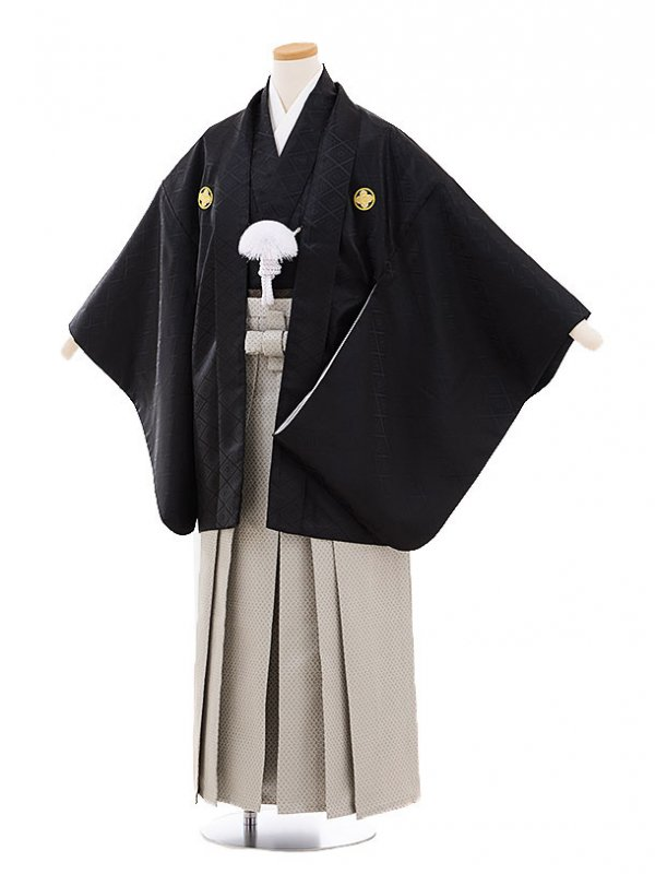 ジュニア袴男児9463 黒地菱柄紋付×グレー袴